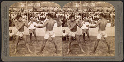 Fight between best of 50 couples (champion at left) - funeral festivity at Mandalay, Burma